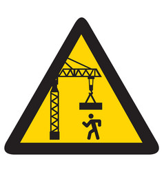 overhead crane crush hazard triangle warning sign vector image