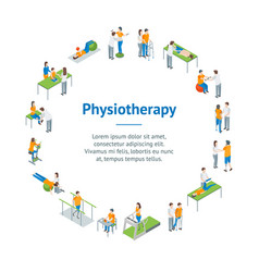 Physiotherapy people banner card circle 3d vector