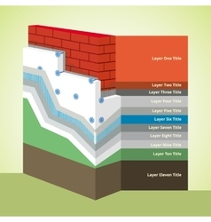 Polystyrene thermal insulation cross-section vector