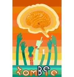 poster with zombies hands vector image