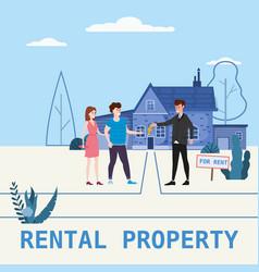 Real estate concept house rent service modern vector
