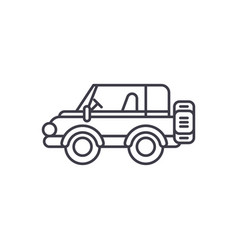 safari jeep line icon concept safari jeep vector image