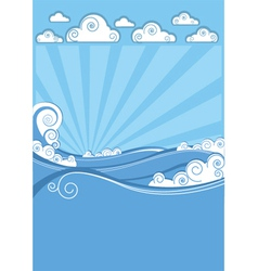 Sea waves in sun day abstract image vector
