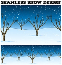 Seamless background with trees and snow vector image