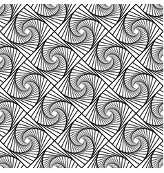 Seamless monochrome pattern with grid of twirly vector