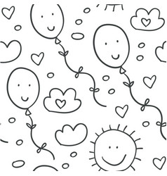 Seamless pattern with clouds balloons and hearts vector