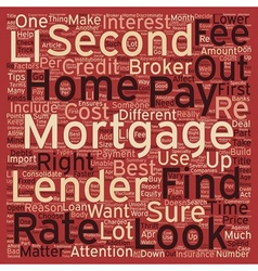 Second Mortgage Tips text background wordcloud vector image