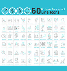 set business conceptual thin line icons vector image
