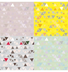 set of 4 Seamless pattern of triangles vector image