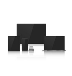 set of device mock up with black screens for your vector image