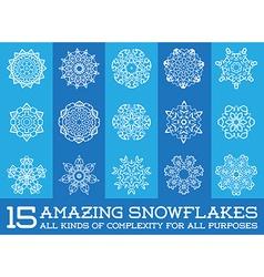 Set of Snowflakes Fractals or Mandala icons great vector