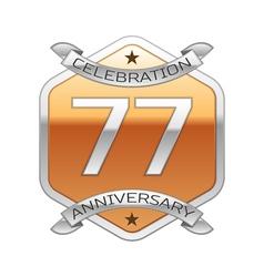 Seventy seven years anniversary celebration silver vector