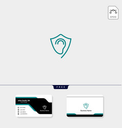Shield protecting ear logo template free vector