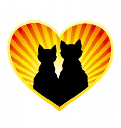 silhouette of cats in love vector image