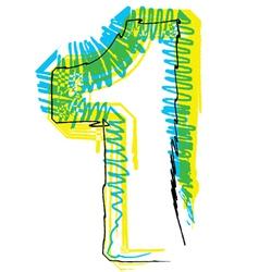 Sketch font Number 1 vector image
