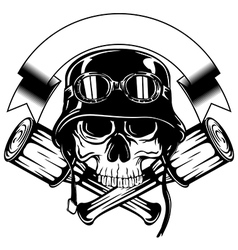 skull in helmet with goggles and crossed grenade vector image