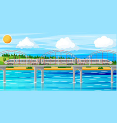 Skytrain and landscape with cityscape vector