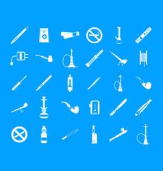smoking icon blue set vector image