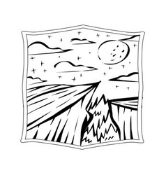 starry night valley badge view vector image