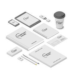 stationery and accessories mock-up with template vector image
