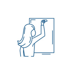 Teacher writes in chalk on a blackboard line icon vector