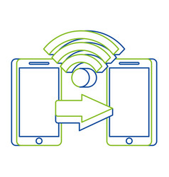 two mobile payment connection money transfer vector image