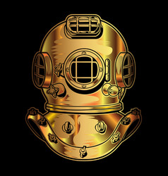 Vintage brass scuba diving mask gold vector