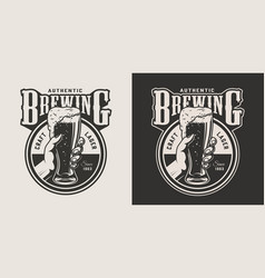 Vintage brewing monochrome round print vector