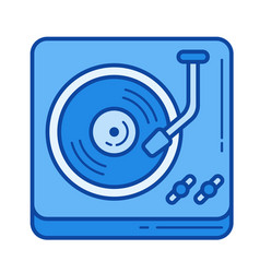 Vintage vinyl player line icon vector