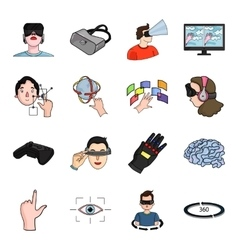 Virtual reality set icons in cartoon style Big vector image