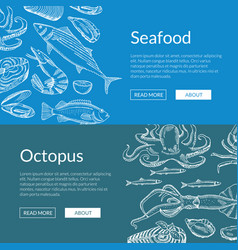 web banner template with hand drawn seafood vector image