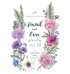 Wedding invitation with wreath anemones vector
