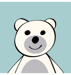 White Bear funny cartoon animal toy vector image