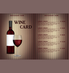 wine card menu design with realistic bottle and vector image