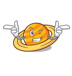 Wink planet saturnus character cartoon vector
