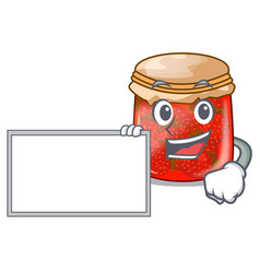 With board character homemade strawberry marmalade vector