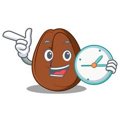 With clock coffee bean character cartoon vector