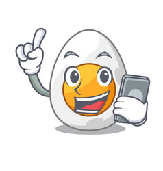 With phone cartoon boiled egg sliced for breakfast vector