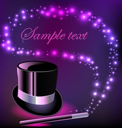 background with a hat and a magic wand vector image vector image