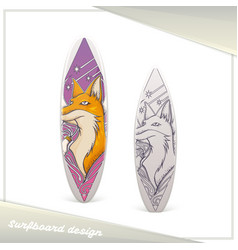 design surfboard fox vector image