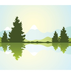 fur-trees with reflection in water and mountains vector image