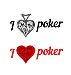 I love poker badges vector image vector image
