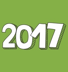 New Year 2017 hand drawn white and green sign vector image vector image
