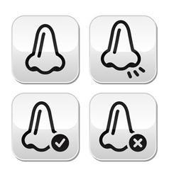 Nose smell vecotr buttons icons set vector image vector image