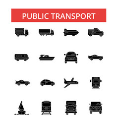 public transport thin line icons vector image