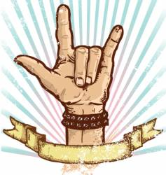 rock and roll fist vector image