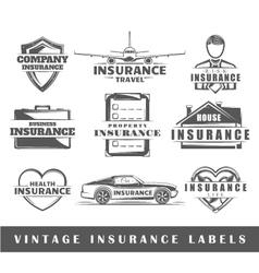 Set of vintage insurance labels vector