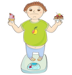 Boy with overweight vector image vector image