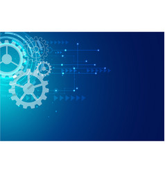 digital hitech technology with gearwheel and vector image