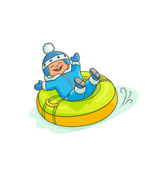 flat boy kid in inflatable tube sled vector image